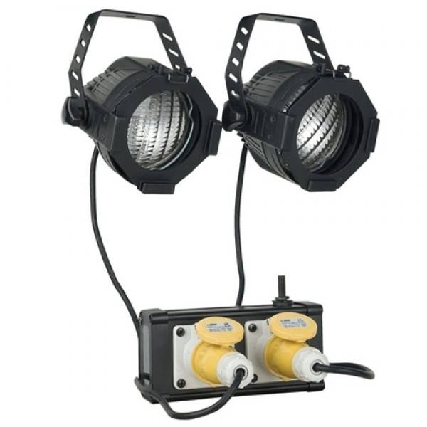 DWE audience blinders, 4 sets (8 lampen en 4 koppelboxen) in een flightcase